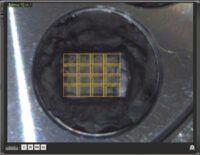 Photo Montage avec le Zeromag électrons rétrodiffusés image de composition Cartographie X du Calcium. Echantillon : béton