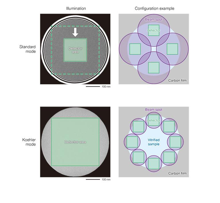 Illumination, configuration example en mode standard et mode Koehler (CRYOARM300)